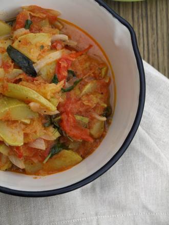 zucchini tomato basil stew close up
