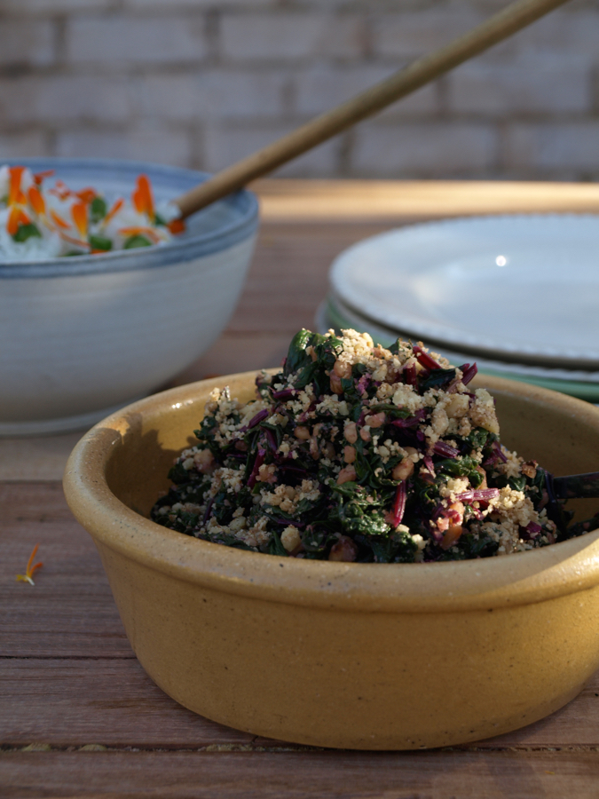 Japanese greens and walnut salad