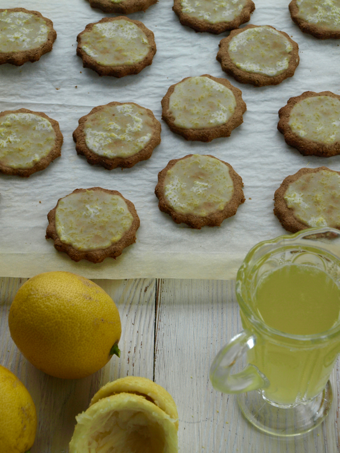 Lemon and rye cookies and lemon cordial