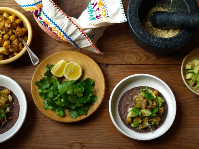 Chipotle potato tacos, pepita salt